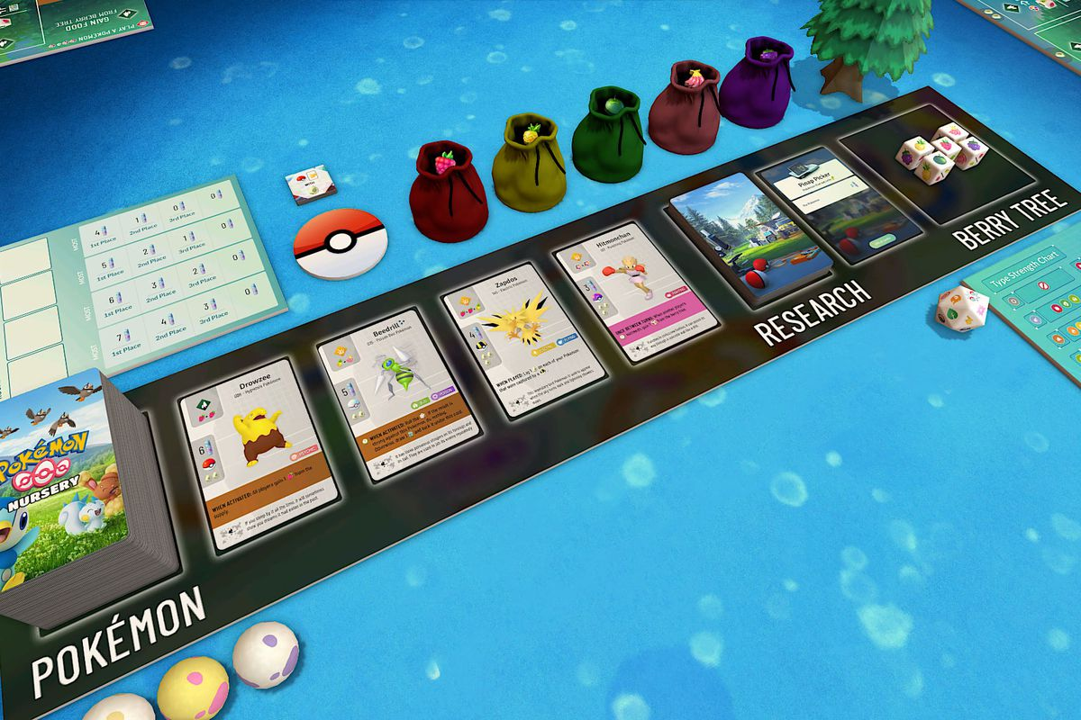 pokemon cards laid out on a table in a mod for wingspan on tabletop simulator