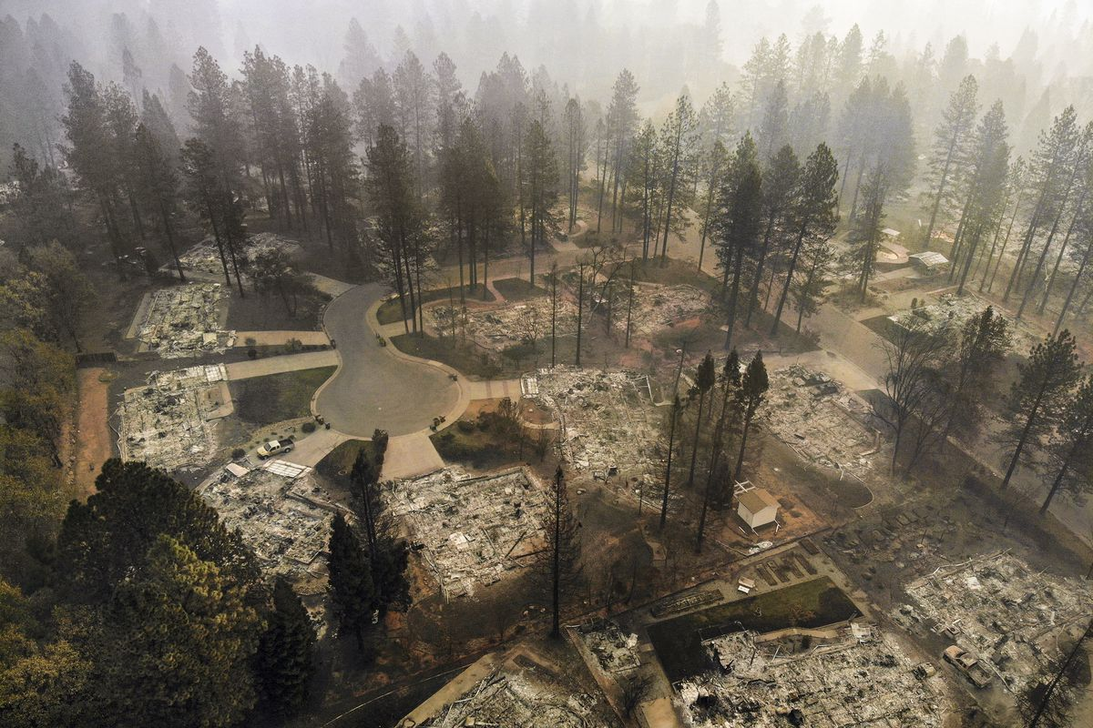 November 15: An ariel view of Paradise, California after the Camp Fire burned more than 7,000 structures. (Carolyn Cole/Los Angeles Times via Getty Images)