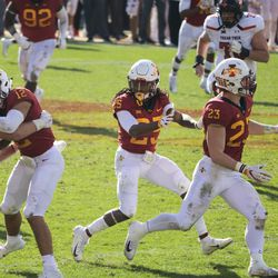 Eisworth II (12) returned the first interception of his career 37 yards before being taken down by Travis Bruffy.