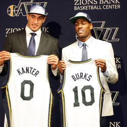The Utah Jazz introduces new recruits Enes Kanter and Alec Burks at the Zions Bank Basketball Center in Salt Lake City on Friday, Jun. 24, 2011.