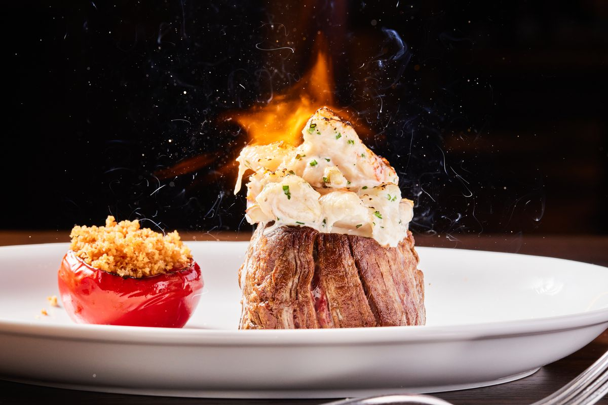Torched filet mignon at the Vault Steakhouse