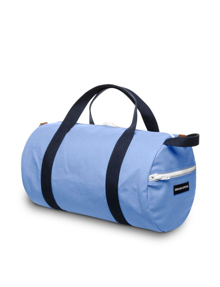 A blue duffel bag