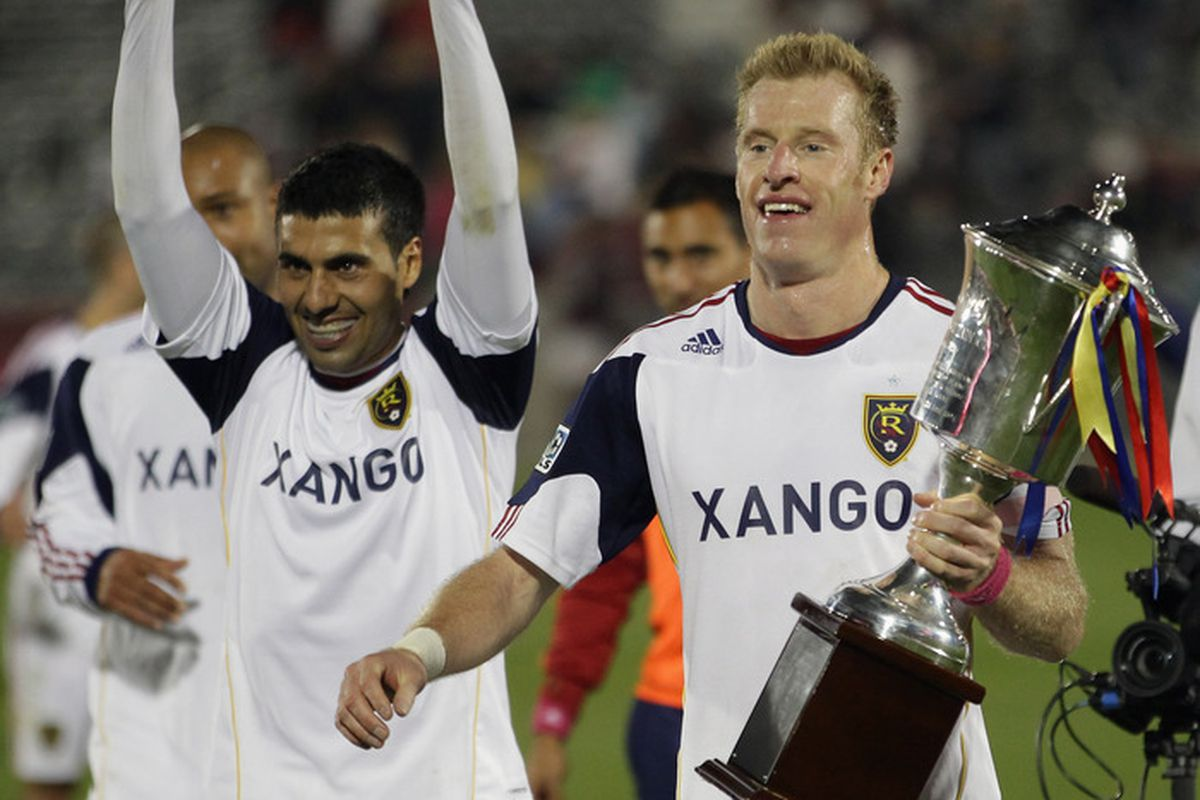Nat Borchers doesn't have to worry about losing the Rocky Mountain Cup on Saturday, RSL has already won it for 2012, now they look for the sweep. (Photo by Doug Pensinger/Getty Images)
