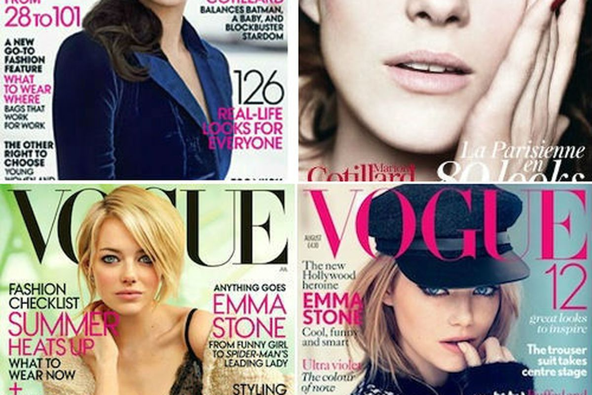 Marion Cotillard covers both American and French Vogue for August, while Emma Stone covered both American and British Vogue in July. Duel!