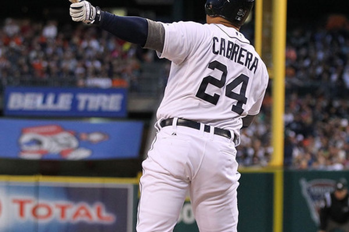 DETROIT, MI - JUNE 02: Miguel Cabrera #24 of the Detroit Tigers hits a solo home run in the fourth inning during the game against the New York Yankees at Comerica Park on June 2, 2012 in Detroit, Michigan.  (Photo by Leon Halip/Getty Images)