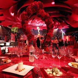 A table setting is seen inside the Emmy Awards Governors Ball preview at the Los Angeles Convention Center on Wednesday, Sept. 19, 2012, in Los Angeles. The Emmy Awards and the Governors Ball will be held Sunday, Sept 23.