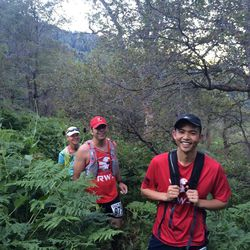 My running companions are, from front to back, Kasey Sayama, Mark Taylor and Valerie Lambiase.