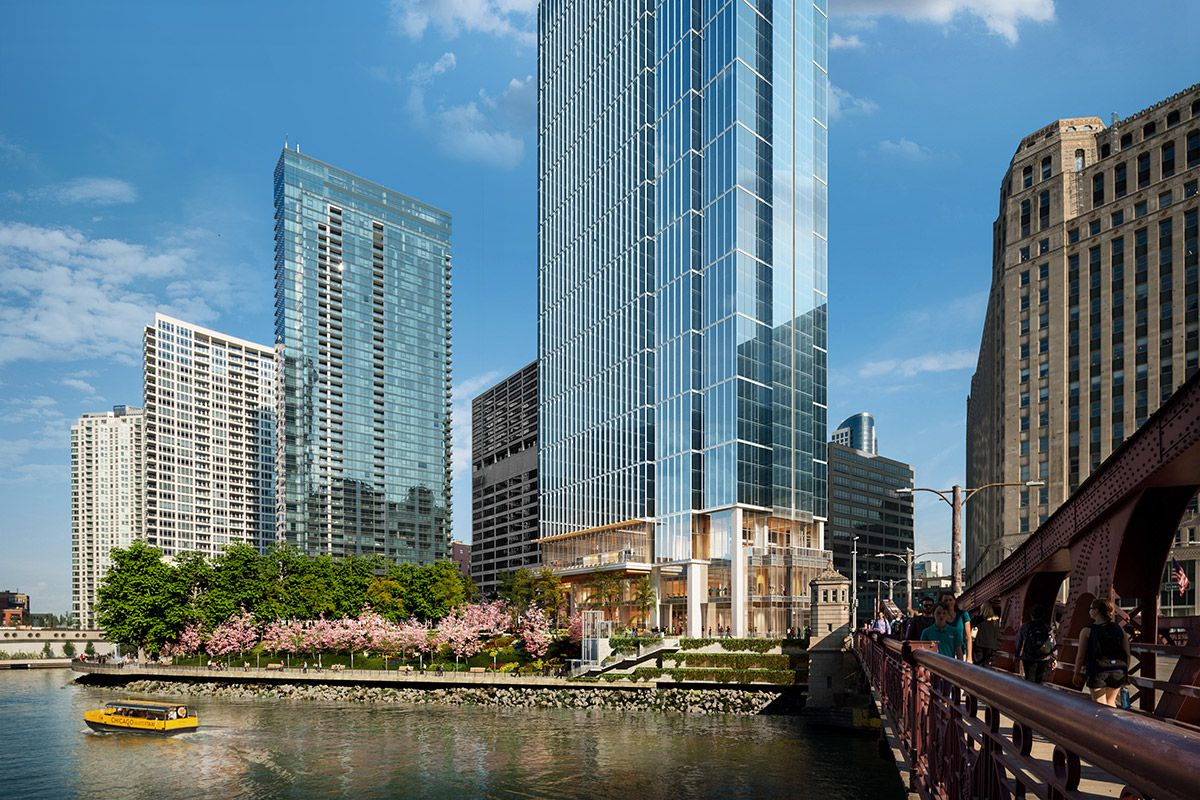Rendering shows the 60-story Wolf Point East apartment tower, which is under construction.
