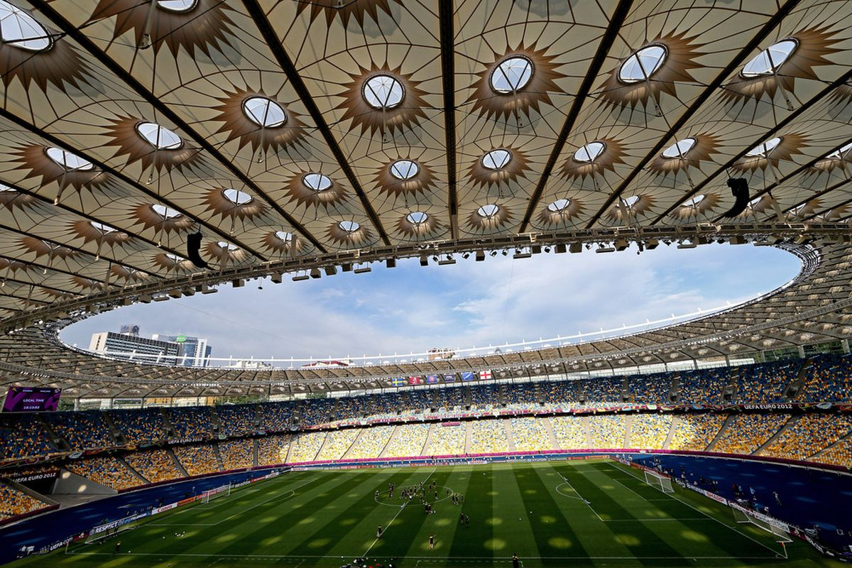 KIEV, UKRAINE - JUNE 14:  A general view of the Sweden team during a UEFA EURO 2012 training session at the Olympic Stadium on June 14, 2012 in Kiev, Ukraine.