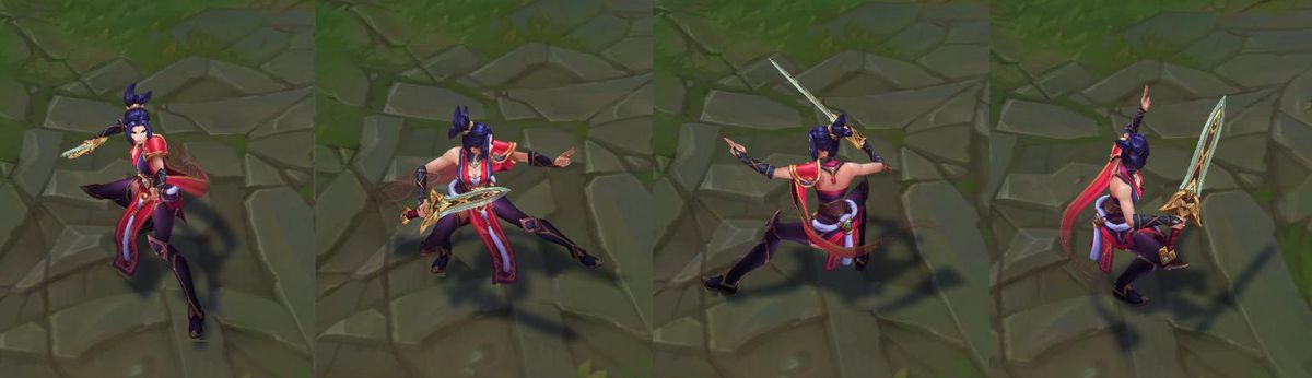 Valian Sword Riven is dressed in red and dark purple and her hair is tied into a short black ponytail
