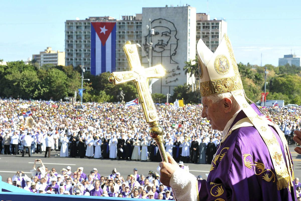 In this picture made available by the Vatican newspaper Osservatore Romano Thursday, March 29, 2012, Pope Benedict XVI arrives in Revolution Square to celebrate a mass in Havana, Cuba, Wednesday March 28, 2012.