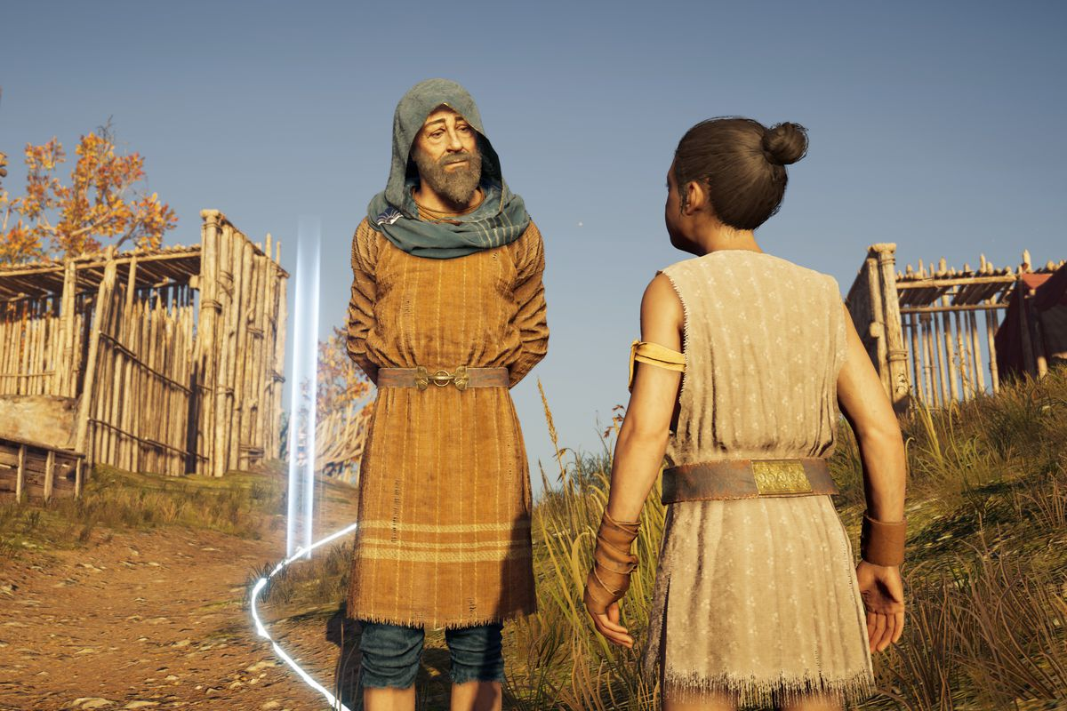 a young girl talking to Herodotos, a middle-aged man in a mustard-colored outfit, in Discovery Tour: Ancient Greece