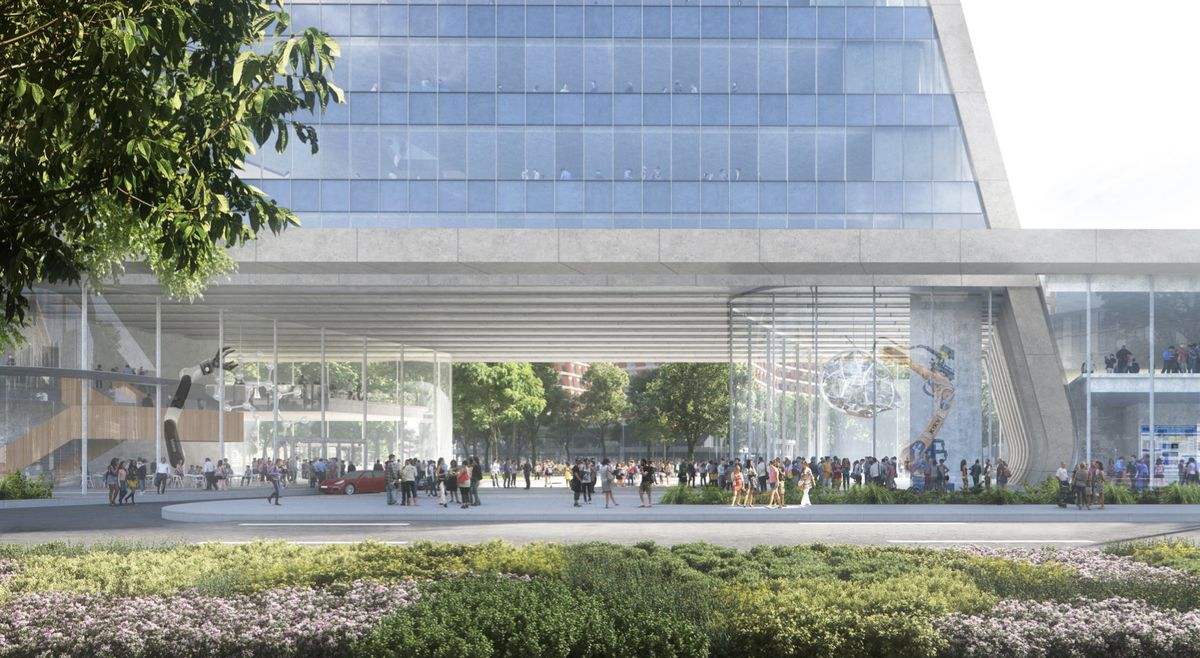 A rendering of a plaza underneath a glass building. There's glass atriums on either side as people walk through the area.