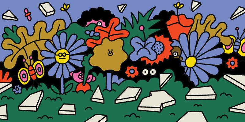 People with bemused expressions peer out from behind various colorful plants and flowers in a garden. This is an illustration.