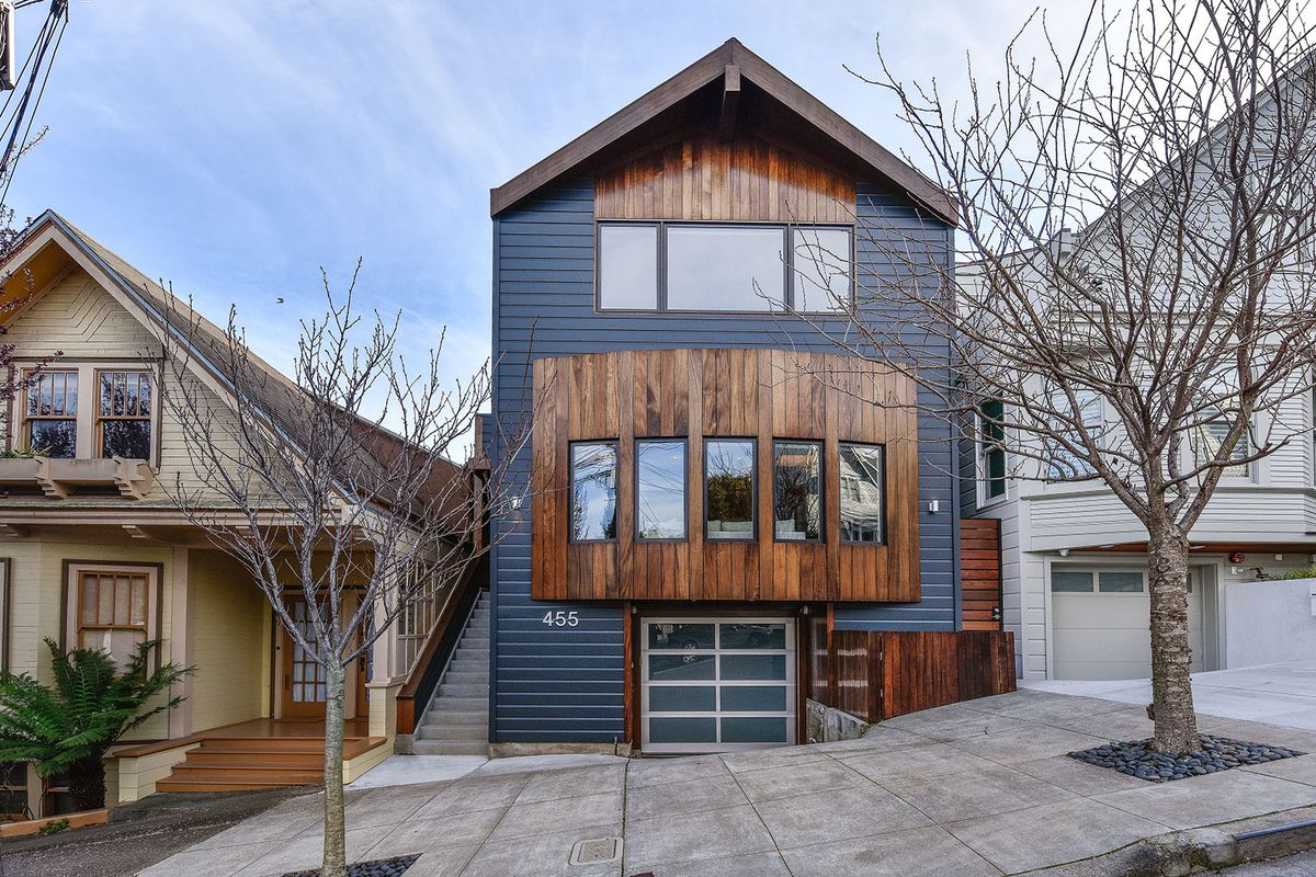 Exterior of Noe Valley home, very modern and contemporary with wood trim.