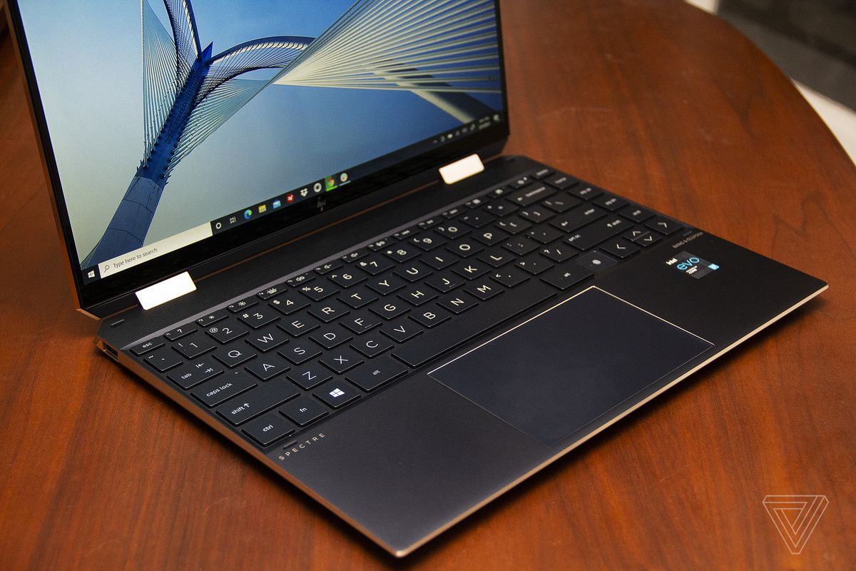 The HP Spectre x360 keyboard angled to the right, seen from above.