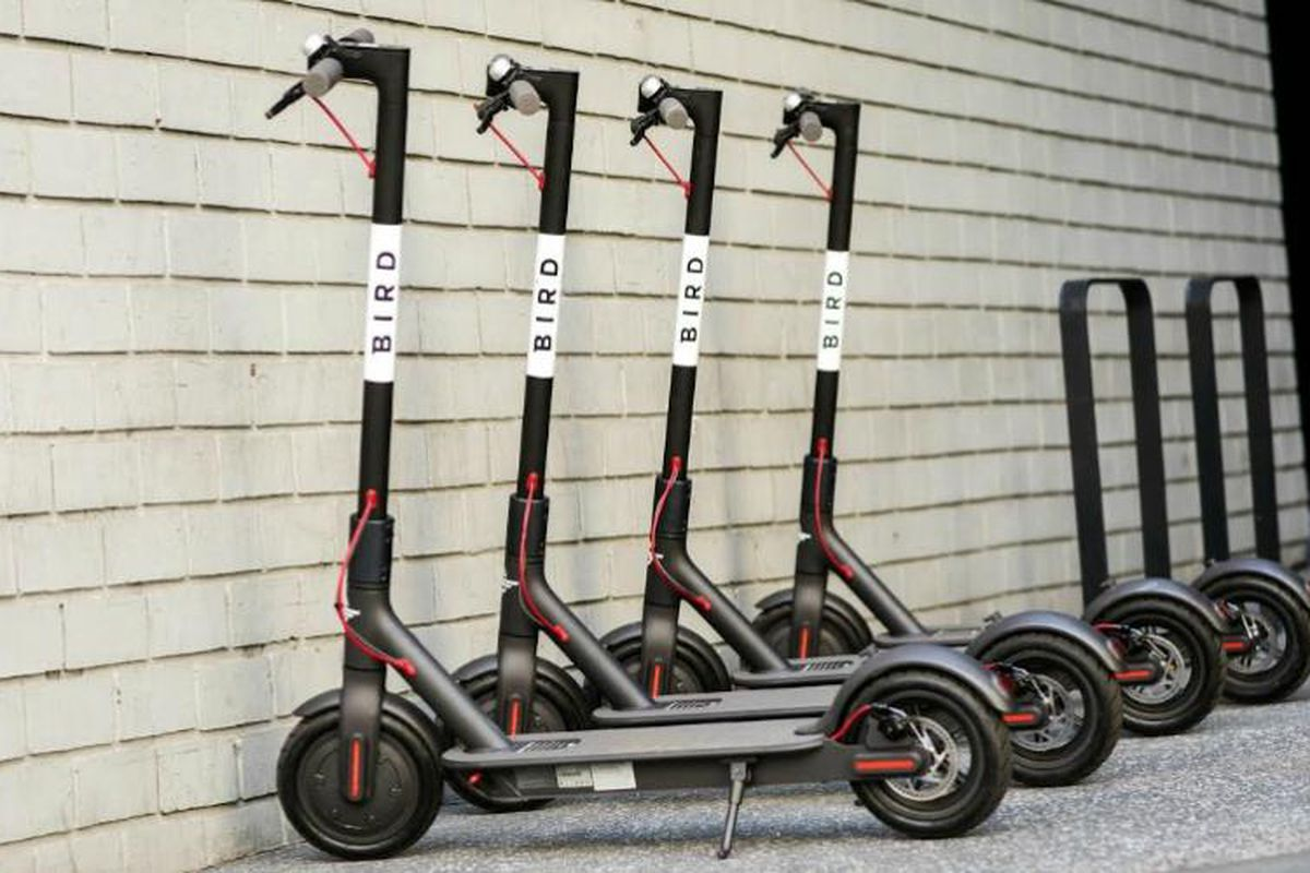 Four black Bird e-scooters sit in front of a white wall.