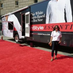 An InStyle employee shows off the utility shirt.