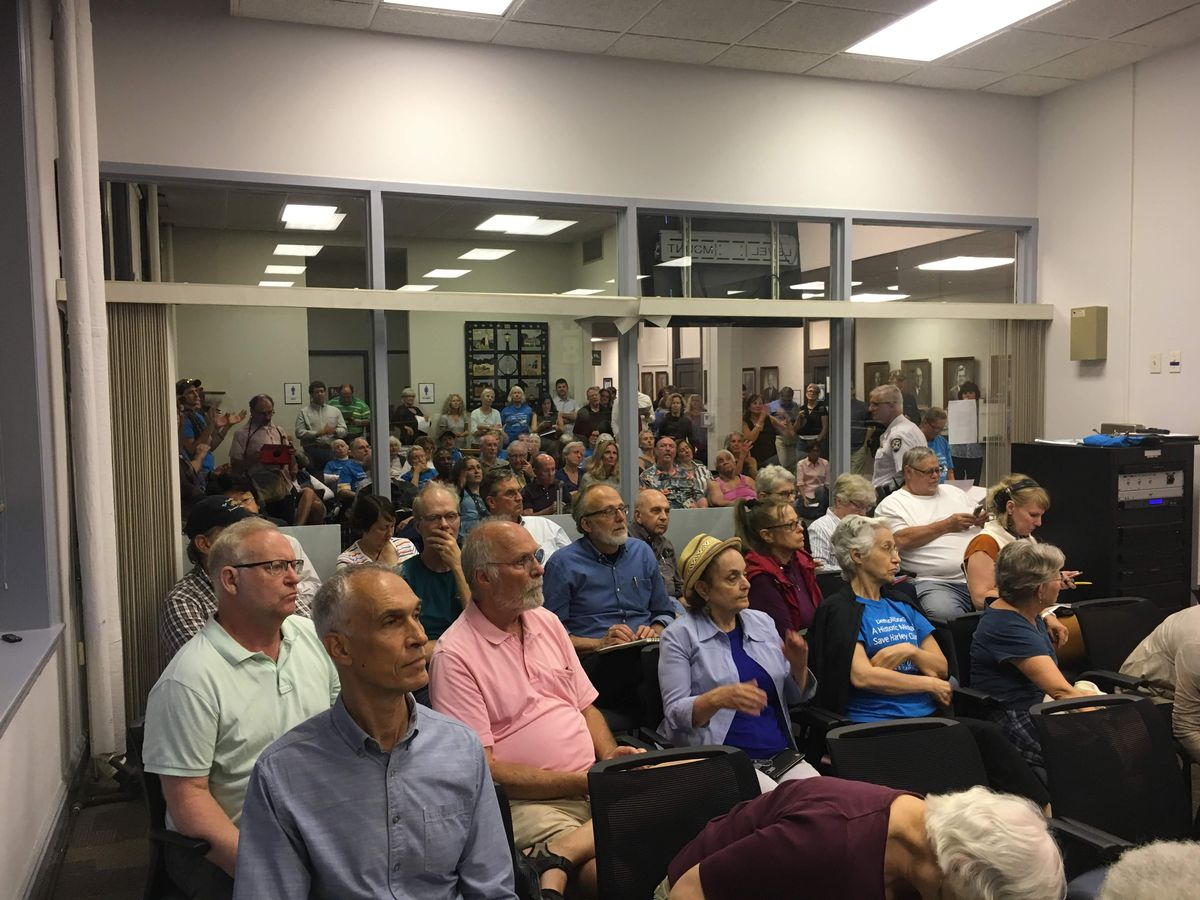 Attendees at Monday's Evanston City Council meeting more than filled the Council Chambers and the overflow room beyond | Adam Thorp/Sun-Times