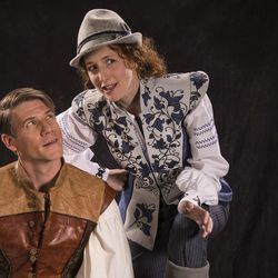 """Jeb Burris, left, as Orlando and Cassandra Bissell as Rosalind star in the Utah Shakespeare Festival's 2017 production of """"As You Like It."""""""