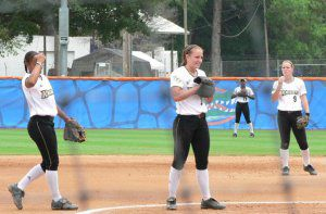 Allison Kime pitching at 2008 Gainesville Regional Final vs, No. 1 Florida.