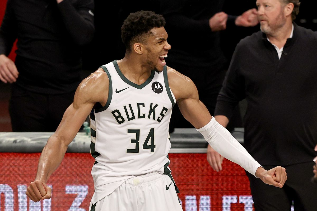 Giannis Antetokounmpo of the Milwaukee Bucks celebrates the win of game seven of the Eastern Conference second round at Barclays Center on June 19, 2021 in the Brooklyn borough of New York City. The Milwaukee Bucks defeated the Brooklyn Nets 115-111 in overtime to win the series.