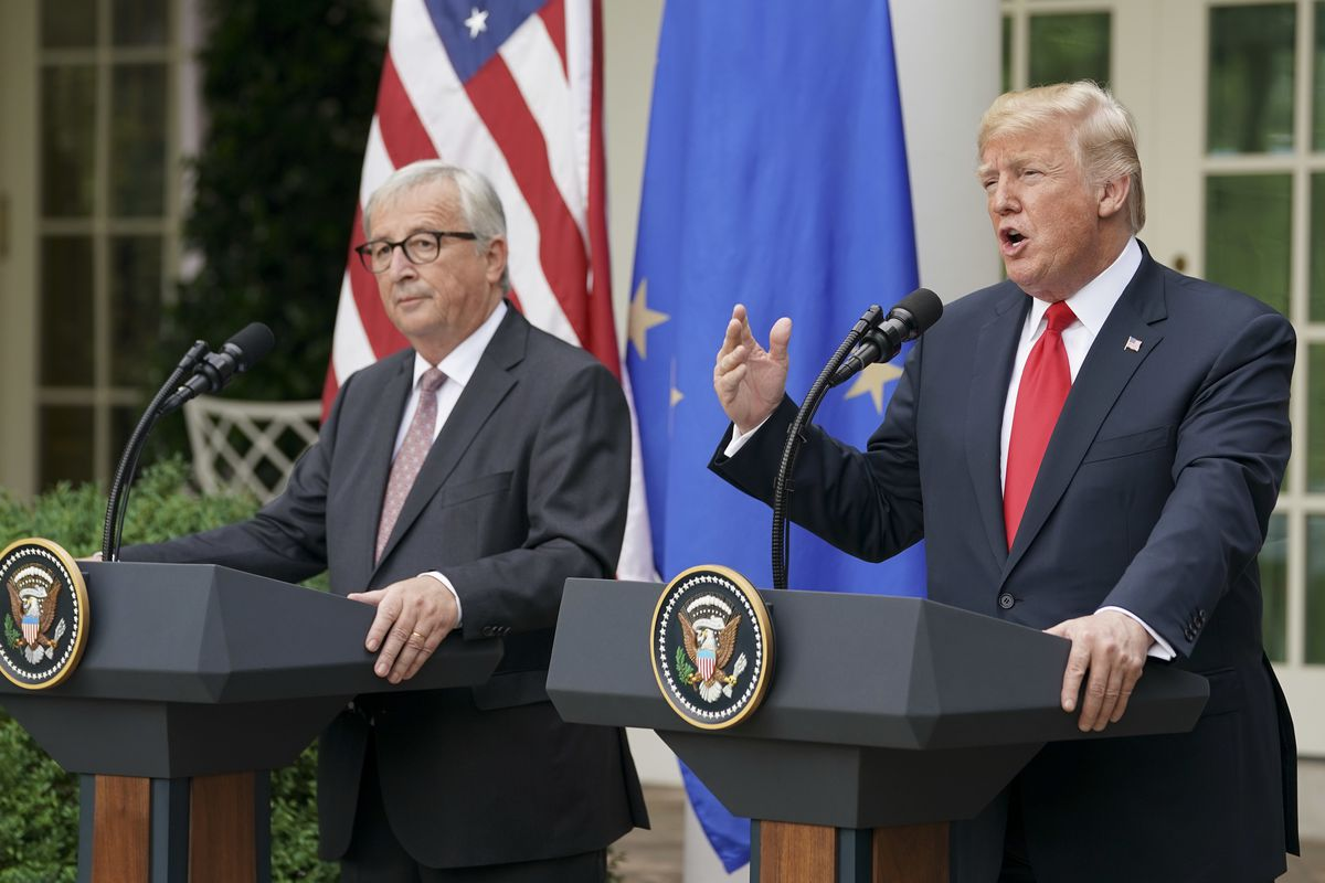 President Donald Trump, right, and European Commission president Jean-Claude Juncker, left, speak in the Rose Garden of the White House, Wednesday, July 25, 2018, in Washington.