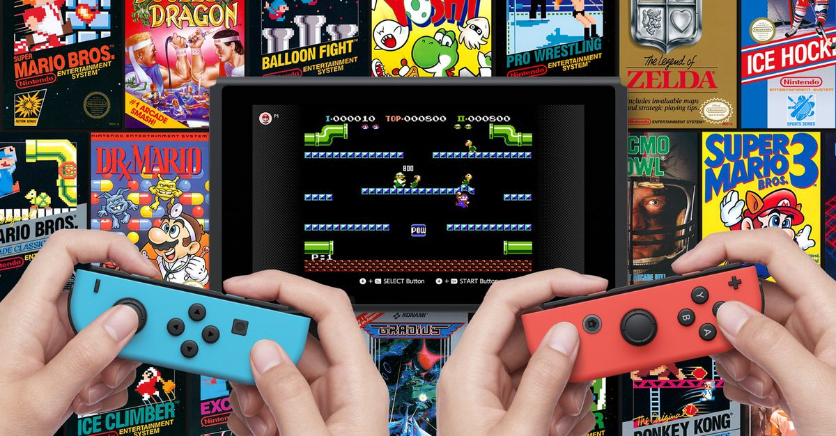 Nintendo Entertainment System - Nintendo Switch Online art with two people holding blue and red Joy-Cons