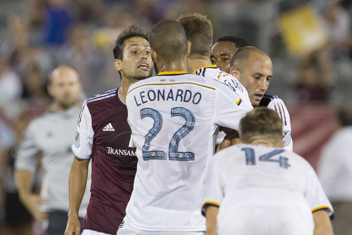 Marcelo Sarvas of the Rapids with a few words for Steven Gerrard after Gerrard kicked the ball into Juan Ramiez's face late in the match.