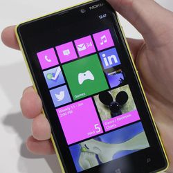 Nokia's smartphone, the Lumia 820, equipped with Microsoft Windows Phone 8, is displayed, Wednesday, Sept. 5, 2012 in New York. Nokia revealed its first smartphones to run the next version of Windows, a big step for a company that has bet its future on an alliance with Microsoft.
