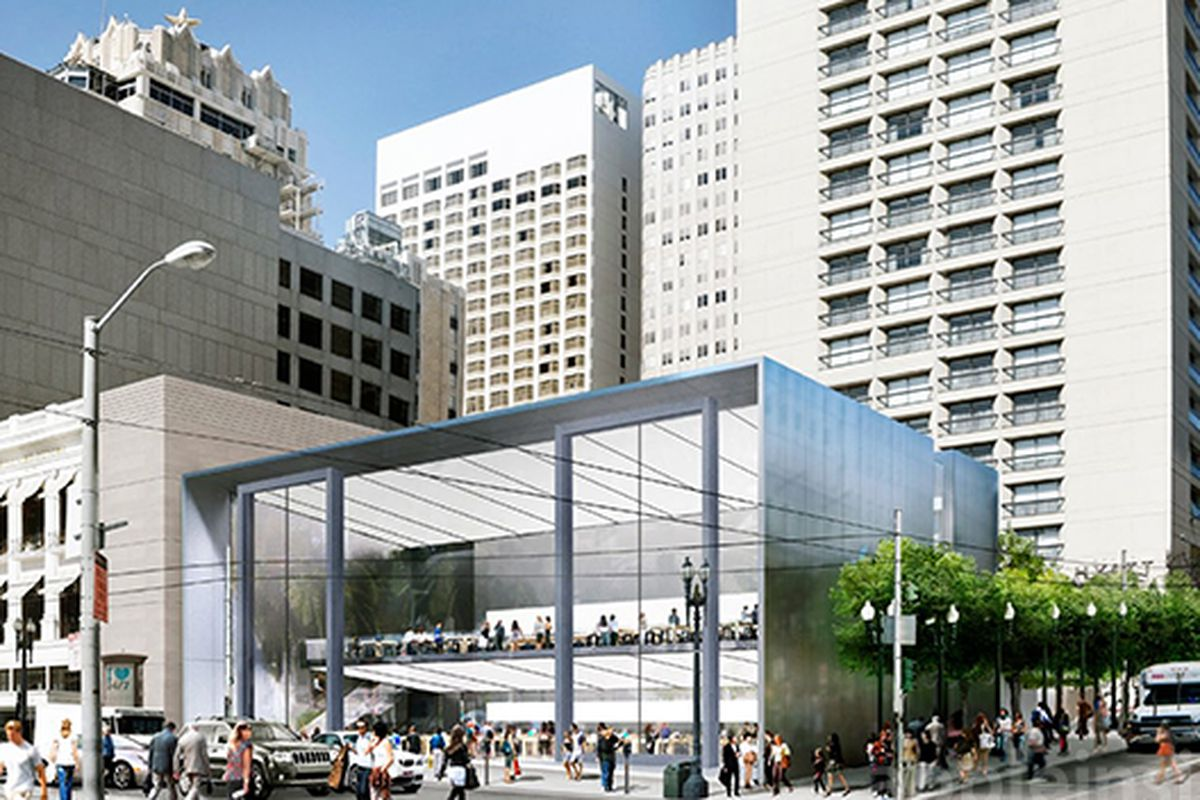 """Rendering from Apple via <a href=""""http://appleinsider.com/articles/14/12/16/work-on-apples-new-union-square-site-begins-as-existing-san-francisco-store-gets-winter-walk"""">AppleInsider</a>"""