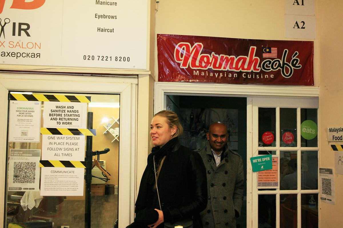 Guests leave Normah's in Queensway Market last November, one of London's best Malaysian restaurants