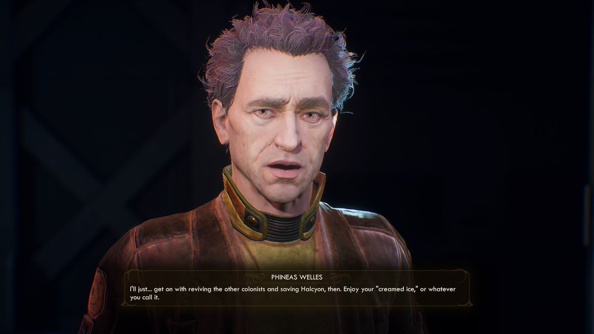 """Phineas Welles tells the player in The Outer Worlds, """"I'll just... get on with reviving the other colonies and saving Halcyon, then. Enjoy your 'creamed ice,' or whatever you call it."""""""
