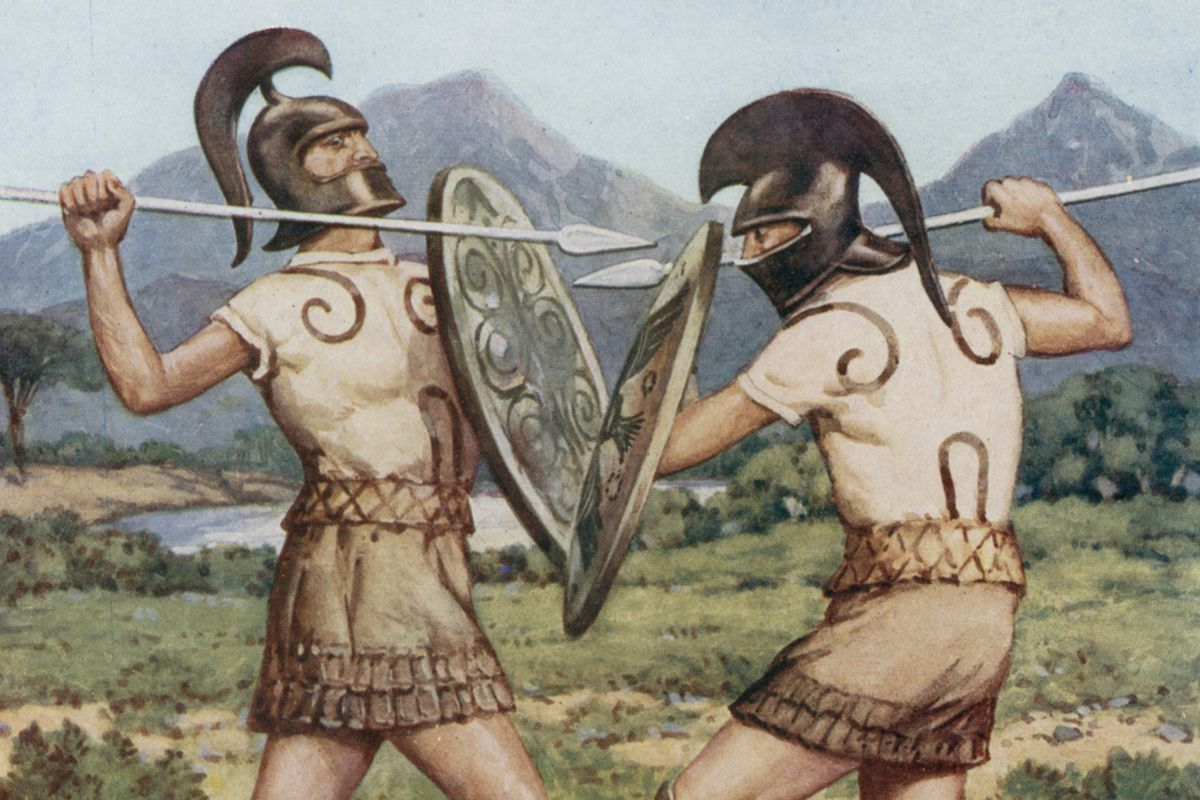 An illustration depicts soldiers fighting in tunics that fail to show off any fake abdominal muscles.