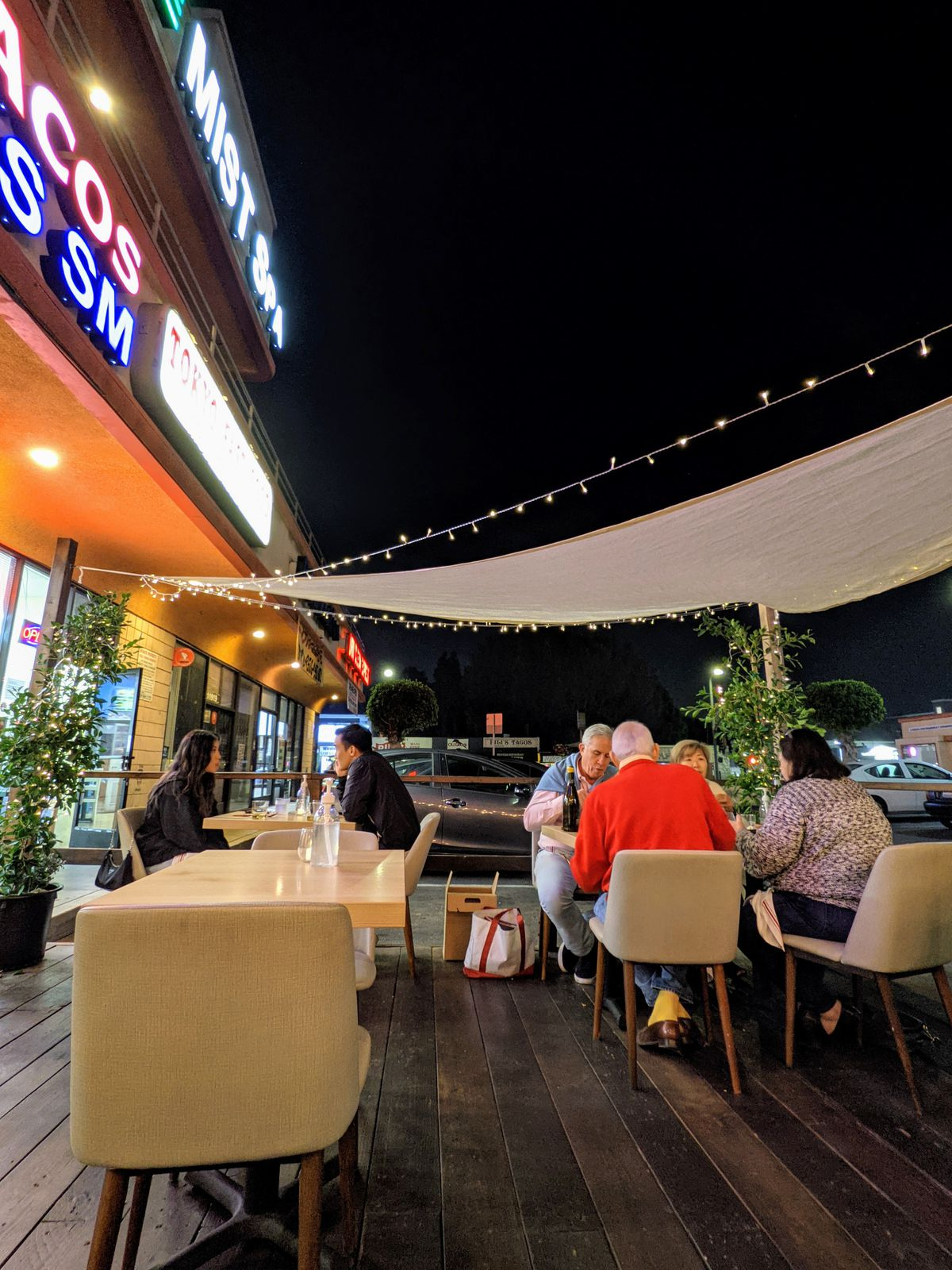 Kato's outdoor dining area, which seats fewer than 20 people