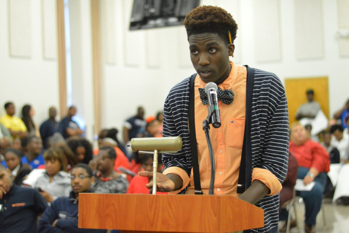 """Samone Nelson, 17, a junior at North Side High, asks the board to """"leave our school open."""""""