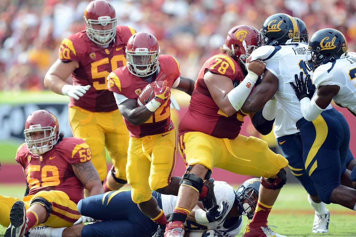 LOS ANGELES, CA - SEPTEMBER 22:  Curtis McNeal #22 of the USC Trojans carries the ball against the California Golden Bears at Los Angeles Memorial Coliseum on September 22, 2012 in Los Angeles, California.  (Photo by Harry How/Getty Images)