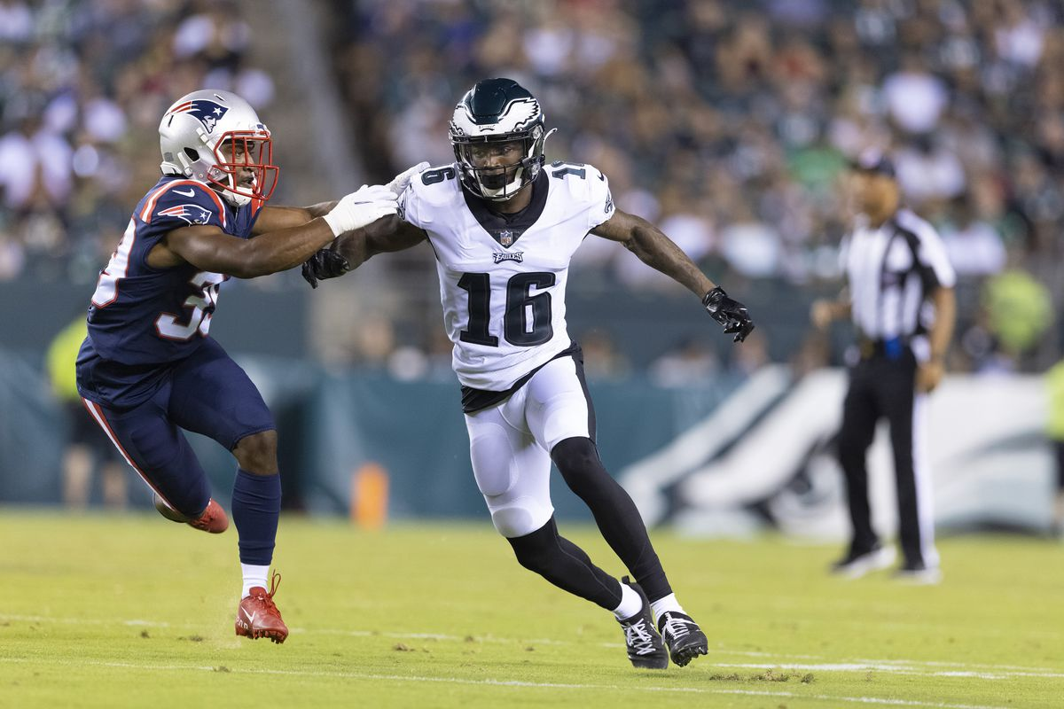Quez Watkins #16 of the Philadelphia Eagles runs a route against the D'Angelo Ross #39 of the New England Patriots in the preseason game at Lincoln Financial Field on August 19, 2021 in Philadelphia, Pennsylvania. The Patriots defeated the Eagles 35-0.