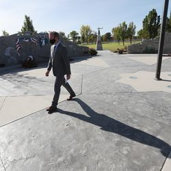 Rep. Ben McAdams, D-Utah, leaves a press conference at the Military Services Monument in West Jordan's Veterans Memorial Parkon Monday, Sept. 28, 2020, after discussing his bipartisan bill to prevent veteran suicides. The bill, which studies the connection between living in high-altitudes and rates of suicide, passed in the House and will now go to the president for his signature.