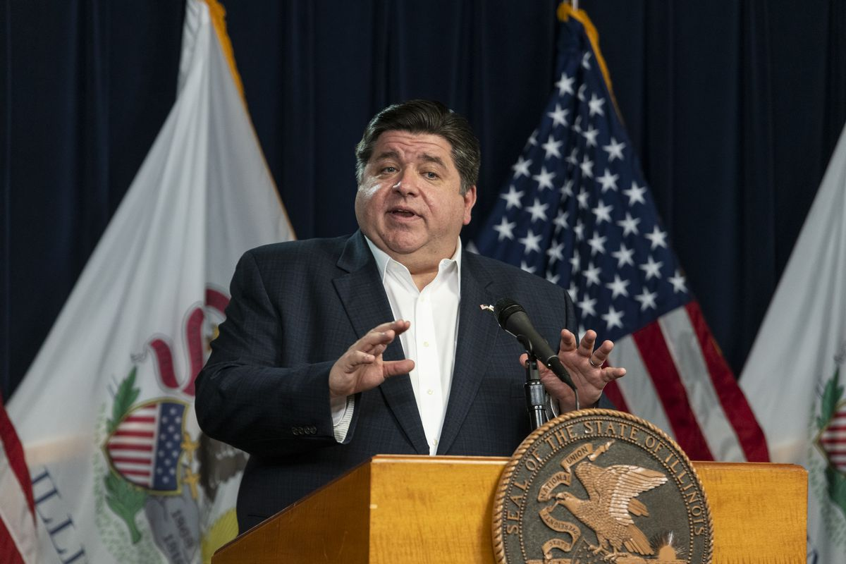 Gov. J.B. Pritzker gives his daily update on the coronavirus situation on April 13, 2020.