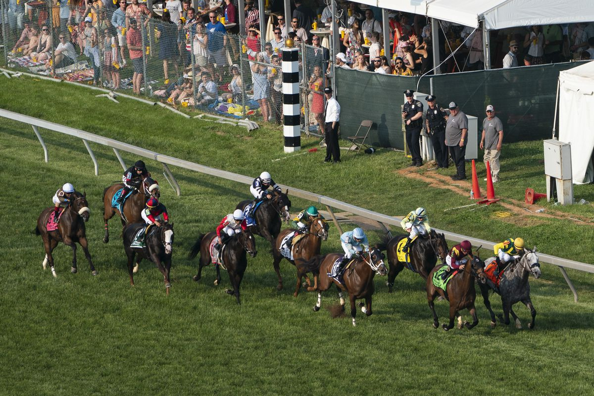 A general view of the twelfth race prior to the running of during the 144th Preakness Stakes at Pimlico Race Course.