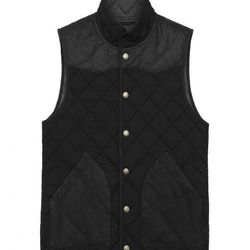 """<strong>Onassis</strong> Cotton Nylon Quilted Vest in Black, <a href=""""http://www.onassisclothing.com/apparel/outerwear-84/cotton-nylon-quilted-vest.html"""">$228</a>"""