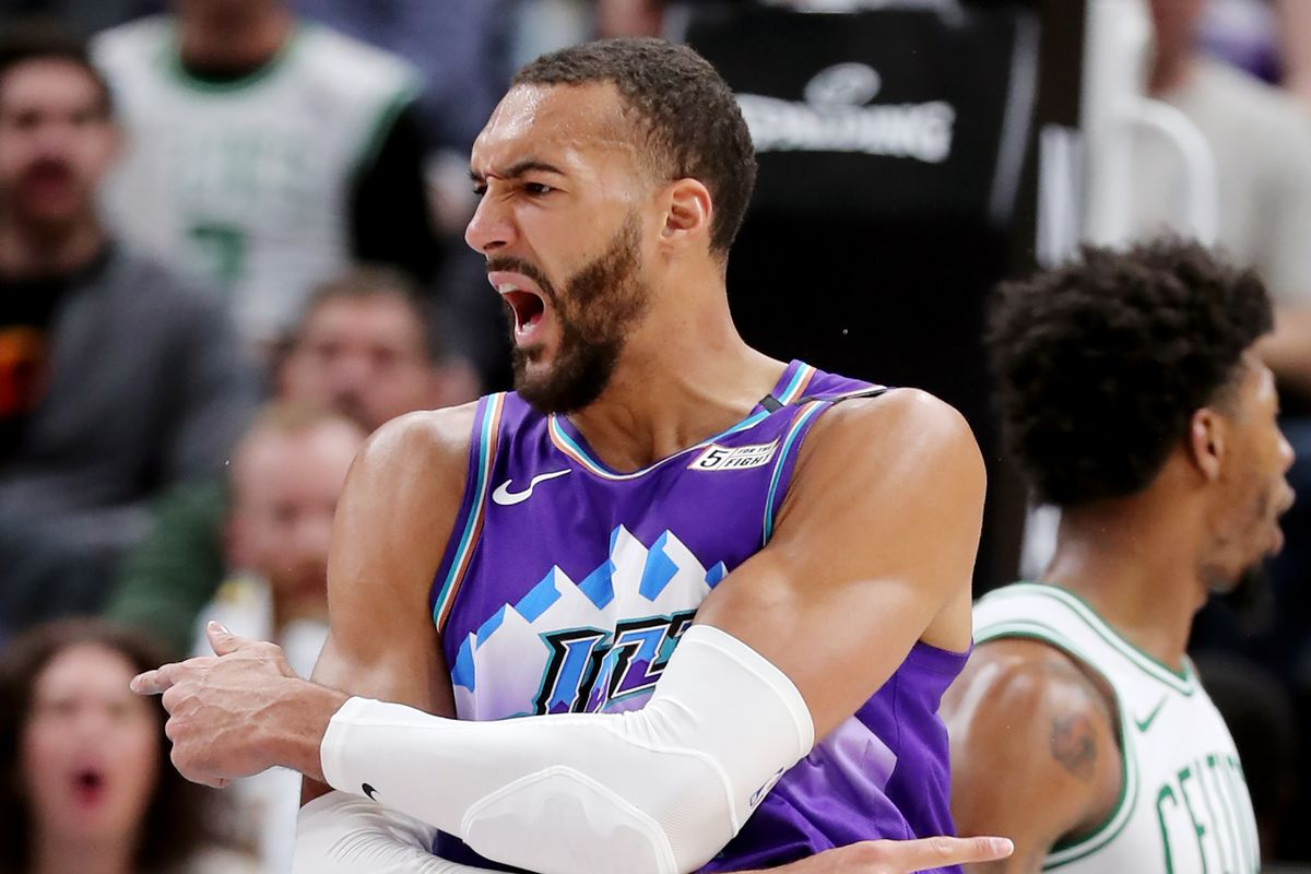 Utah Jazz center Rudy Gobert (27) reacts after being called for a foul. Gobert received a technical foul for his antics as the Utah Jazz and the Boston Celtics play an NBA basketball game at Vivint Smart Home Arena in Salt Lake City on Wednesday, Feb. 26, 2020. Boston won 114-103.
