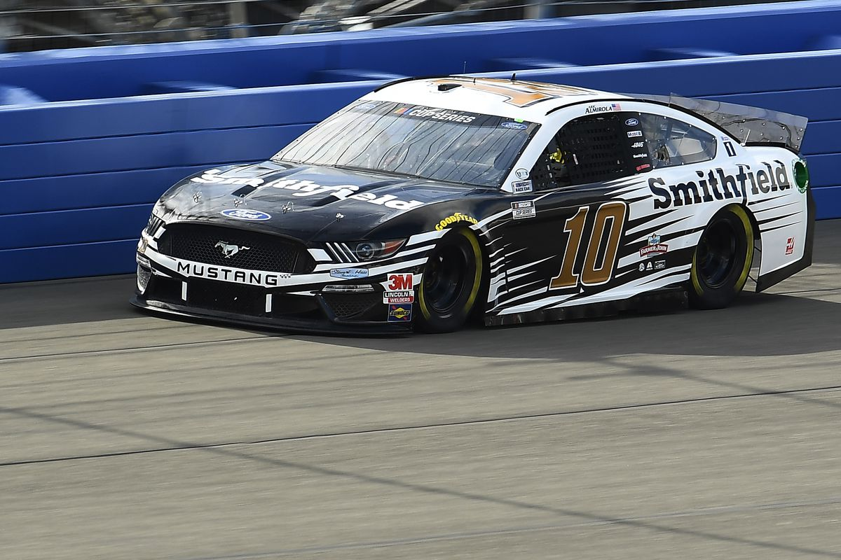 Aric Almirola, driver of the #10 Smithfield Ford, practices for the NASCAR Cup Series Auto Club 400 at Auto Club Speedway on February 28, 2020 in Fontana, California.