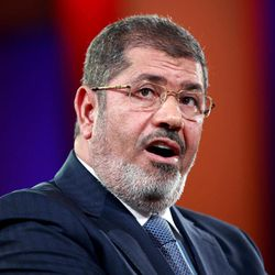Egyptian President Mohammed Morsi speaks at the Clinton Global Initiative in New York Tuesday, Sept. 25, 2012. Morsi, the country's first democratically elected leader, says freedom of expression must be joined with responsibility in a speech that addressed the violent clashes that erupted across the Muslim world in reaction to an anti-Islam video produced in the United States.