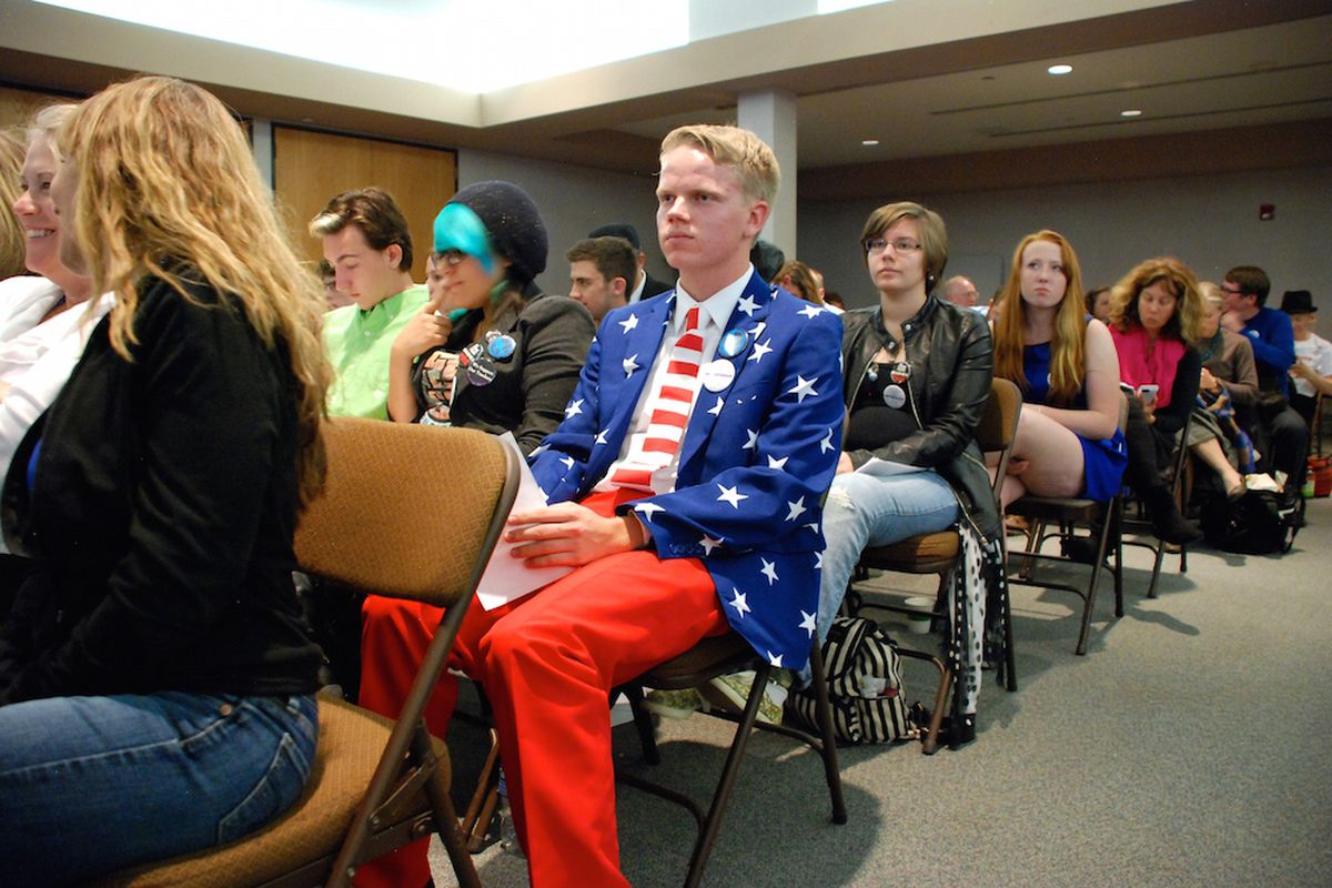 Garrett Hjelle, a Columbine High School student, was one of about 10 students ejected from a Jeffco Public Schools board meeting for attempting to disrupt the evening.