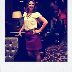 """Terri Hickey, director of public relations for the Four Seasons Chicago, does a happy-dance when she sees """"Carrie's pink tutu in the opening credits of 'Sex & the City.'"""""""