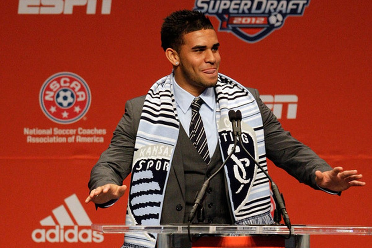 Dom Dwyer living it up at the 2012 SuperDraft in Kansas City.