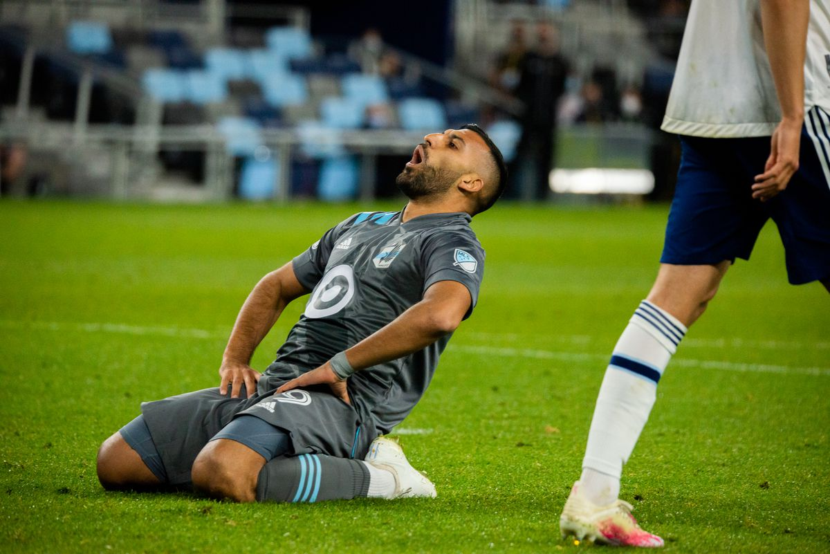 May 12, 2021 - Saint Paul, Minnesota, United States - Minnesota United Striker Ramon Abila reflects on a missed opportunity against the Vancouver Whitecaps at Allianz Field. (Photo by Tim C McLaughlin)