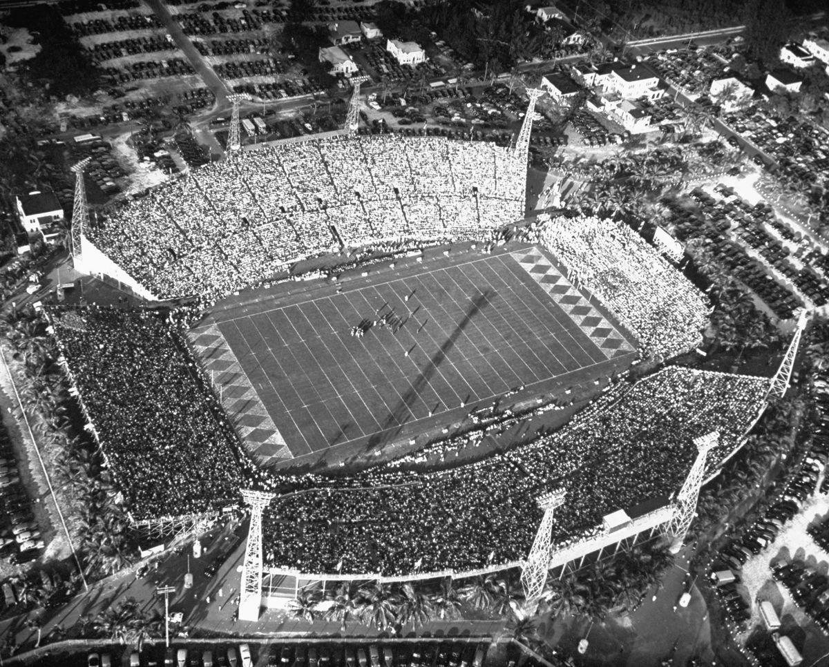 Crowded stadium during Orange Bowl game.